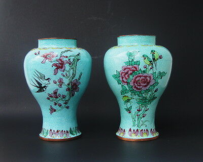 Pair of Old or  Antique Chinese  Enameled  Vases
