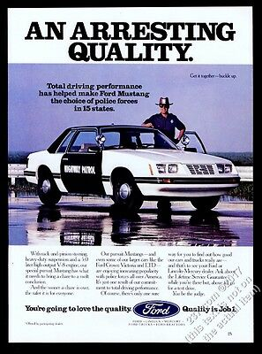 1984 Ford Mustang police highway patrol cop car photo vintage print ad