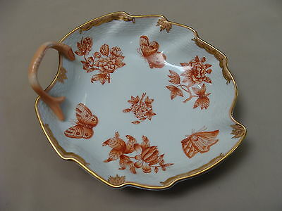 Vintage Herend Fortuna Queen Victoria Rust Large Leaf Form Candy Trinket Dish