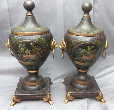 Tole Painted Metal Toleware Pair of 2 Two Lidded Decorator Urns Vases Floral B