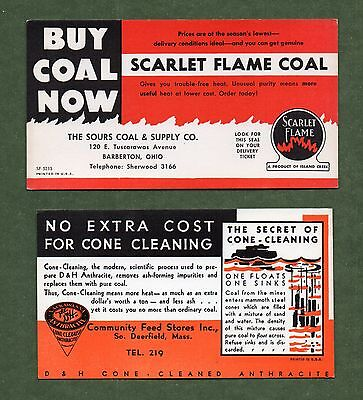 2 (SCARLET FLAME COAL, D&H ANTHRACITE COAL) Unused Blotters - 1940's, Great Cond