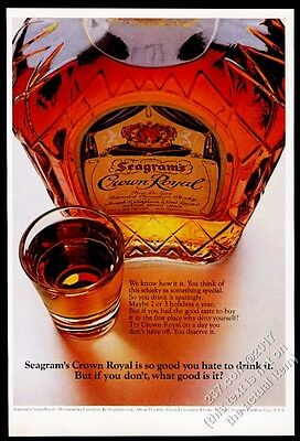 1969 Seagram's Crown Royal Whisky bottle and shot glass photo vintage print ad
