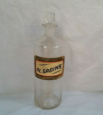 Antique Apothecary Bottle Jar Original Label And Glass Stopper Sabine 1800 S