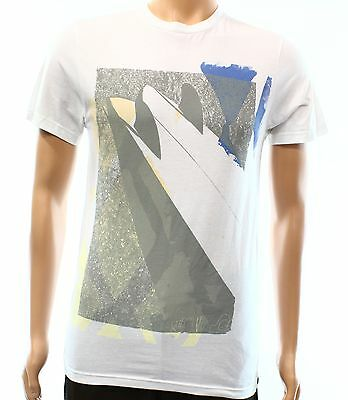 Quiksilver NEW White Mens Small S Abstract Graphic Crewneck Tee T-Shirt #618