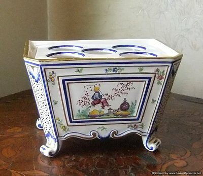 Antique French Rouen Faience Chinoiserie Boughpot Bowpot Planter Vase Marked