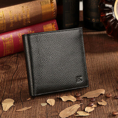 Genuine Leather Men's Bifold Wallet Slim Hipster Cowhide Credit Card New Black
