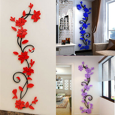 3D Flower DIY Wall Decals Stickers Art Home Room Vinyl Mural Decor Removable