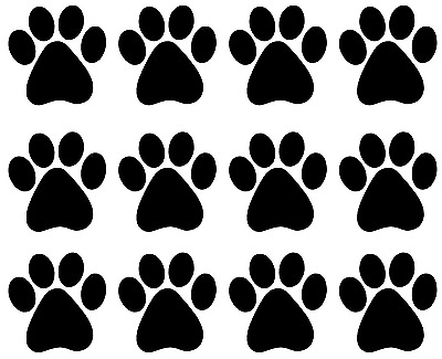 "12 Paw Prints 1"" Fused Glass Decals 17CC850"