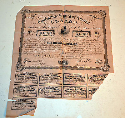 CSA Confederate 1863 $1000 bond February 1863 Stonewall Jackson with coupons