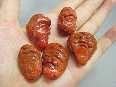 Chinese A Set Of (5) Southern red agate Carved Mask / Pendant