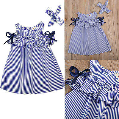 HOT Toddler Kids Baby Girls Clothes Striped Off-shoulder Party Gown Formal Dress