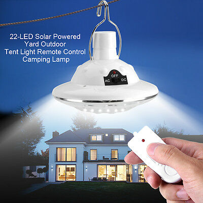 22LED Outdoor/Indoor Solar Lamp Hooking Camp Garden Lighting Remote Control DY