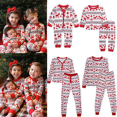 Christmas Family Women Baby Kids Deer Sleepwear Nightwear Pajamas Set Pyjamas US