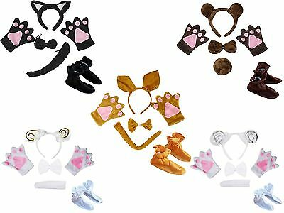 Halloween Animal School Party Unisex Kids Child Headband Bow Tail Paw Shoes 5pc