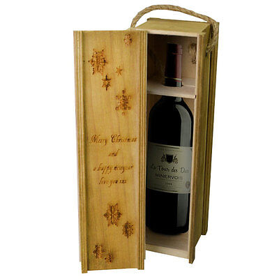 Personalised Wooden Wine Box Champagne Anniversary Wedding Visit GIfts Party