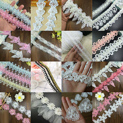 Pearl Flower Trim Fringe Lace Embroidered Wedding Ribbon Sewing Applique 1 Yard