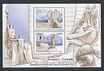 FRANCE with CANADA 2017 WW1 CENTENARY  of VIMY  RIDGE MS  MNH