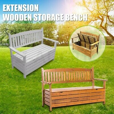 Wooden Storage Bench Box Timber Garden Chair Furniture 2 Seat Chest Outdoor Rest
