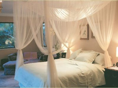 4 Corner Post Bed Canopy Mosquito Net Queen King Size Netting Bedding White HZ