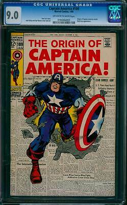 Captain America # 109  The Origin of Captain America ! CGC 9.0 scarce book !
