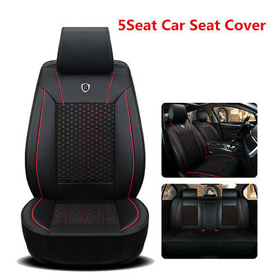 Fashionable 5-Seats Car Seat Cover Mat Leather &Ice Silk Chair Cushion Full Set