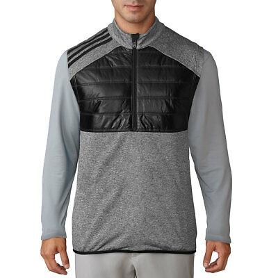 Adidas Golf Mens 2017 Climaheat Quilted 1/2 Zip 3-Stripes Insulated Sweater Vest