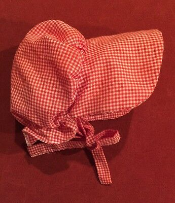 American Girl Doll KIRSTEN'S Meet BONNET, Retired, Red/White Check, Pleasant Co
