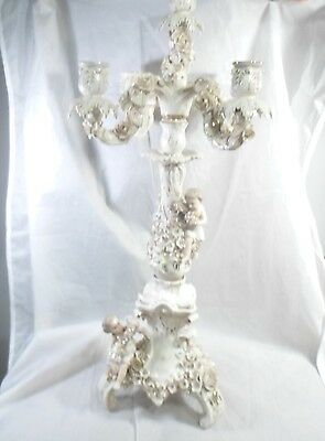 antique Old Paris Porcelain Candelabra w/ Applied Flowers and Cupids France