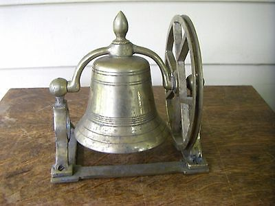 Small All Brass Boat Bow Bell with Pulley Wheel