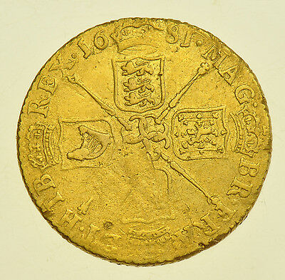 Scarce 1681 Guinea, British Gold Coin From Charles Ii Gf