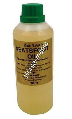 GOLD LABEL NEATSFOOT OIL FOR LEATHER CARE 500ML or 1L BOTTLE
