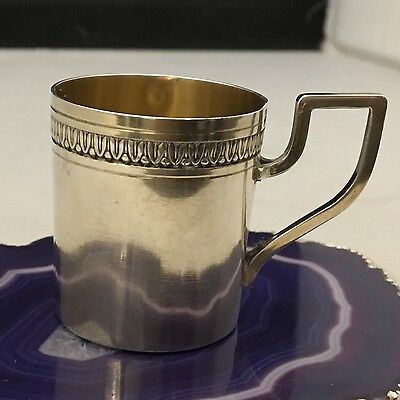 STUNNING French Sterling Silver & Gold Vermeil Shot Cup/Glass/Jigger c1880 -L712