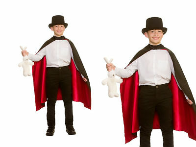 Magicians Cape Boys Girls Fancy Dress Accessory Magical Black Cape
