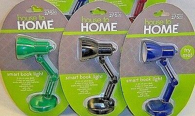 Lot of 3 House to Home Smart Book Lights Adjustable, Clip On Desk Book