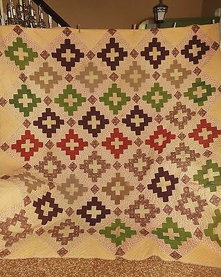 "Magnificent Antique Late 1800's Album / Christian Cross Quilt 97"" X 101"" BEAUTY!"