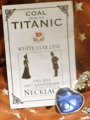 Titanic 100 Year Anniversary: Blue Heart Necklace w/ Coal From The Titanic