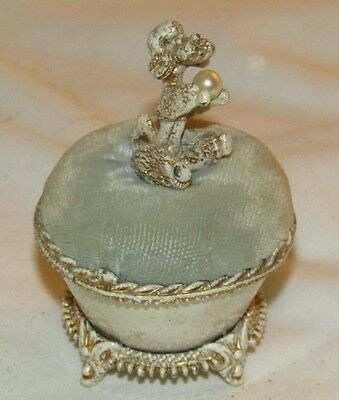 Vintage Florenza French Poodle Dog Pin Cushion & Holder Hollywood Regency Glam