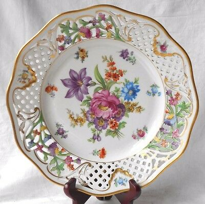 Late C19Th / Early C20Th Schumann Dresden With Hand Painted Flowers