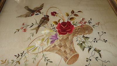 "Antique 19th C Society Silk Embroidery Basket of Flowers Birds in Frame 18""X21"""