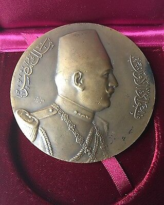 Rare Bronze Egypt Medal Egyptian King Fuad Official Visit To Czechoslovakia 1929