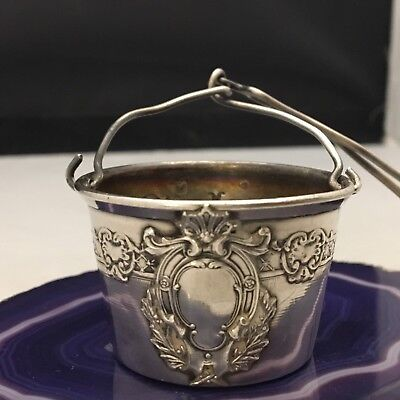 RARE Stunning Pattern w/ Vacant Shield Sterling Silver Tea Strainer Infuser-L717