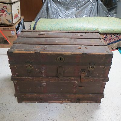 "Antique Steamer Wood Trunk 34""x21""x24"" Large Storage Box Chest Coffee Table"
