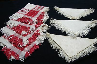 Lot 7 Antique Victorian Early 1900S Linen & Red Cotton Damask Napkings