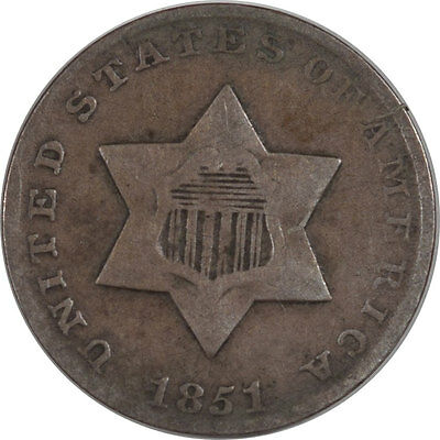 1851 Three Cent Silver - Pleasing Circulated Example!