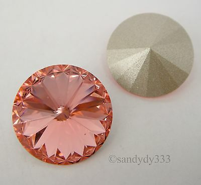 4 Rose Peach Swarovski Crystal Foiled 1122 Rivoli Stone Beads 14MM