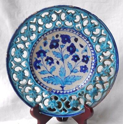 C19Th  Iznik Plate With A Pierced And Moulded Border