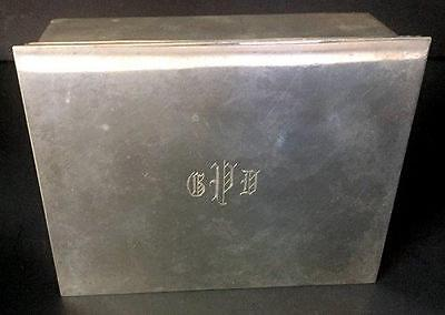 Tiffany & Co Sterling #23325 Wood Lined Monogrammed Cigarette Box
