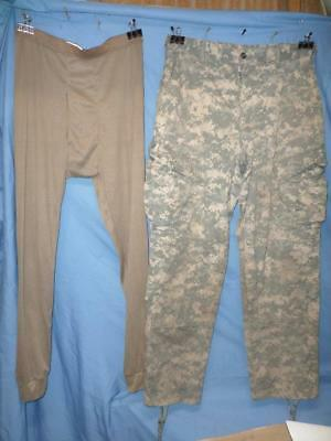 Us Military Acu Camo Trousers & Lwcwus Pants Sz Medium Regular Used See Pics