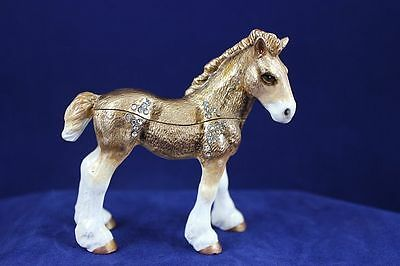 Enameled Pewter  Bejeweled Trinket Box w Treasure Inside - Clydesdale Pony Horse