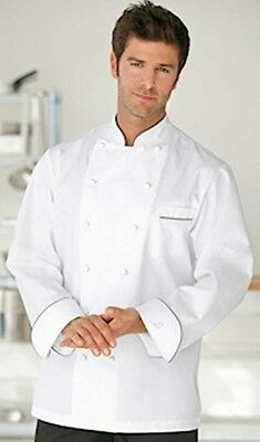 NEW Chef Coat~Bragard Perigord Chef Jacket~Pima Cotton Gray Piping Sz 38